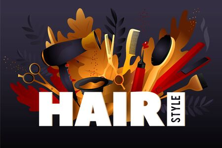 Hair Style. Colorful hairdresser decorative illustration with beauty haircut accessories and equipment with big white letters. Realistic Poster. Vector Illustration black and Gold Colors Illustration