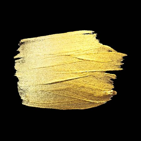 Gold Watercolor Texture Paint Stain Abstract Illustration. Shining Brush Stroke for you Amazing Design Project. Black Background.