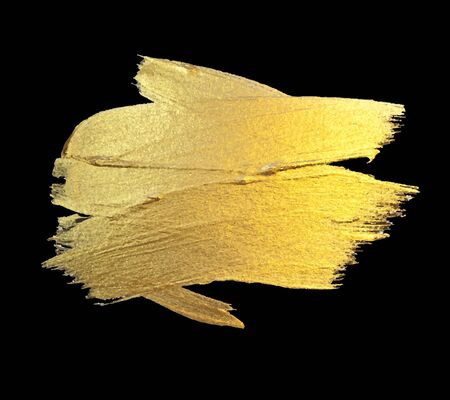 Gold Watercolor Texture Paint Stain Abstract Illustration. Shining Brush Stroke for you Amazing Design Project. Black Background. Vettoriali