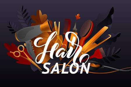 Hair Style. Colorful hairdresser decorative illustration with beauty haircut accessories and equipment with big white letters. Realistic Poster. Vector Illustration black and Gold Colors.