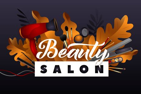Beauty Salon. Colorful Makeup and Hair Style decorative illustration with haircut accessories and Make-up equipment with big white letters. Realistic Poster. Vector Illustration black and Gold Colors. 向量圖像