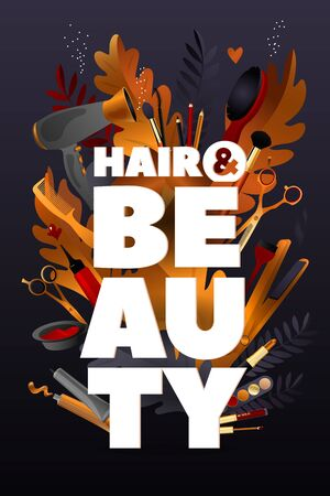 Hair and Beauty Style. Colorful hairdresser decorative illustration with beauty haircut accessories and equipment with big white letters. Realistic Poster. Vector Illustration black and Gold Colors.