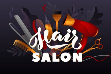 Hair Style. Colorful hairdresser decorative illustration with beauty haircut accessories and equipment with big white letters. Realistic Poster. Vector Illustration black and Gold Colors 向量圖像