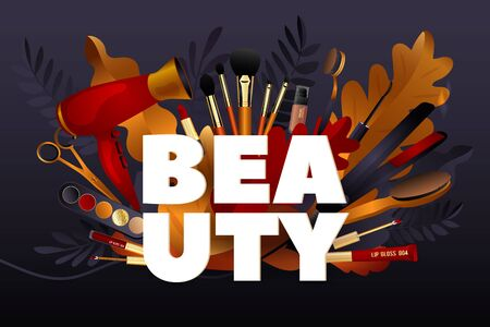 Beauty Salon. Colorful Makeup and Hair Style decorative illustration with haircut accessories and Make-up equipment with big white letters. Realistic Poster. Vector Illustration black and Gold Colors