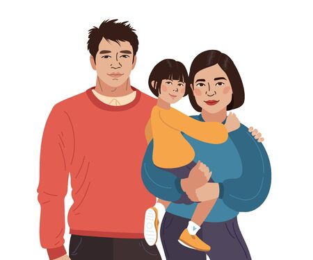 Asian smiling family portrait. Chinese mother, father and little daughter. Vector illustration simple. Vettoriali