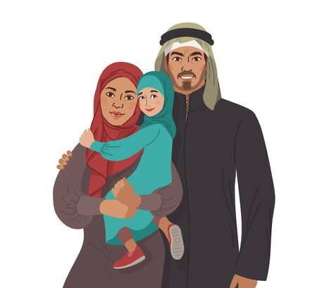 Family portrait. Middle Eastern Muslim People. Arab mother, father and little daughter. National Clothes. Vector Flat Illustration Simple Shapes. Çizim