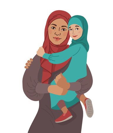 Family portrait. Middle Eastern Muslim People. Arab mother and little daughter. National Clothes. Vector Flat Illustration Simple Shapes.