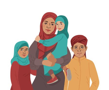 Family portrait. Middle Eastern Muslim People. Arab mother, son and little daughter. National Clothes. Vector Flat Illustration Simple Shapes. Çizim