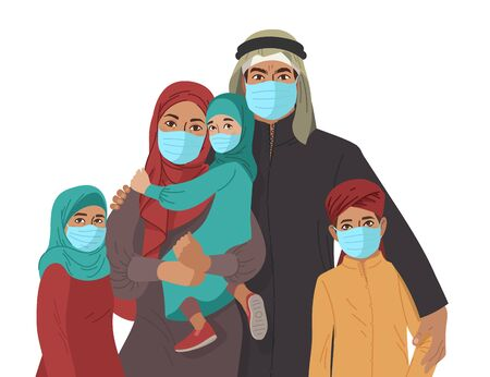 Mother Father daughter and son wear medical masks. Virus and disease prevention. Middle Eastern Arab Muslim Persons. Vector Family illustration.