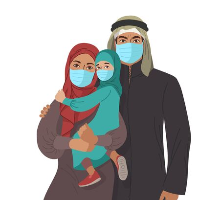 Mother Father daughter and son wear medical masks. Virus and disease prevention. Middle Eastern Arab Muslim Persons. Vector Family illustration. Çizim