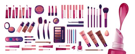 Cosmetics and fashion big set with make up artist objects: lipstick, cream, brush, eye shadow. Colorful realistic make up kit. Realisic Vector Illustration. 向量圖像