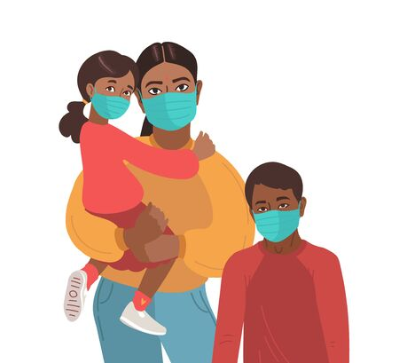Mother son and daughter wear medical masks. Virus prevention. African Indian Persons. Vector Family illustration.