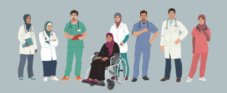 Medical Characters. Middle Eastern Medics. Doctors and nurses portraits, team of doctors concept, medical office or laboratory. Modern flat vector concept digital people vector illustration.
