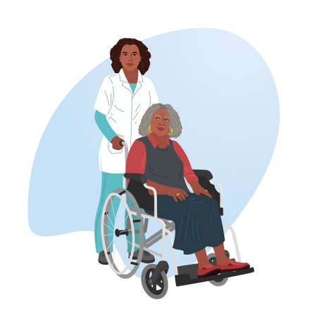 A girl nurse rolls a wheelchair with a patient. Disabled man.