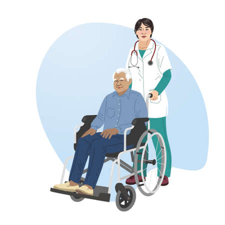A girl nurse rolls a wheelchair with a patient. Disabled man. Vectores