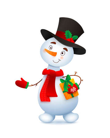 Vector Cute Snowman. Christmas illustration with funny snowman. Headdress top hat