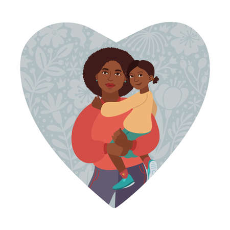 Happy Mothers Day Greeting Card. I love you mom. Young women and little daughter. African American people. Vector Illustration. Heart Shape and Doodle flowers Vectores