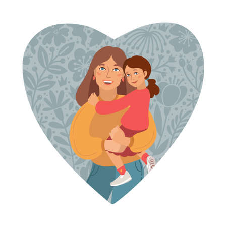 Happy Mothers Day Greeting Card. I love you mom. Young women and little daughter. Caucasian people. Vector Illustration. Heart Shape and Doodle flowers