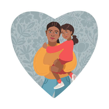 Happy Mothers Day Greeting Card. I love you mom. Young women and little daughter. Indian people. Vector Illustration. Heart Shape and Doodle flowers