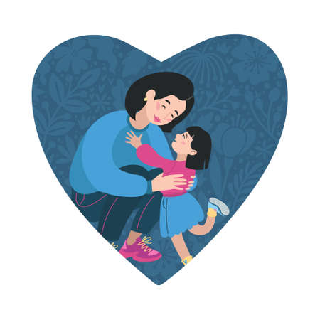 Happy Mothers Day Greeting Card. I love you mom. Young women and little daughter. Asian people. Vector Illustration. Heart Shape and Doodle flowers