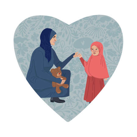 Happy Mothers Day Greeting Card. I love you mom. Young women and little daughter. MUSLIM ARABIC people. Vector Illustration. Heart Shape and Doodle flowers