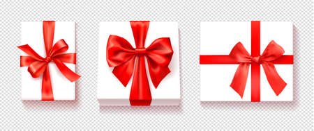 White gift box with red color bow knot, ribbon isolated on transparency background. Happy birthday, Christmas, New Year, Wedding or Valentine Day package concept. Vector illustration top view