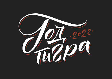 Year of a Tiger 2022. Hand drawn Russian phrase in calligraphic style. Elegant holidays decoration with custom typography and hand lettering for your design. Greeting Card Design on black background. Vector Illustration. Vectores