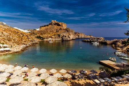 seaview: Greece, island Rhodes. Top view to the bay and acropolis in the city Lindos Stock Photo