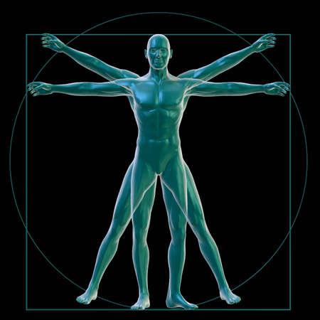 vitruvian man: El hombre de Vitruvio sobre negro