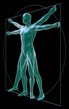 Vitruvian man on black three-quarter view photo