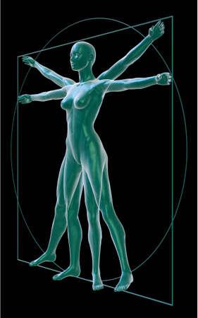 uomo vitruviano: Donna vitruviano su nero di tre quarti