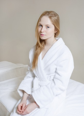caras felices: Spa Woman. Beautiful Girl After Bath  Perfect Skin. Skincare. Young Skin, blond hair , fresh look Foto de archivo