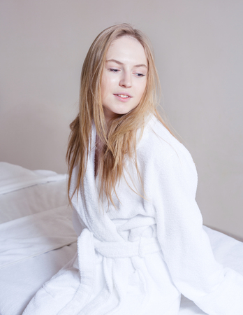 woman face cream: Spa Woman. Beautiful Girl After Bath  Perfect Skin. Skincare. Young Skin, blond hair , fresh look Stock Photo
