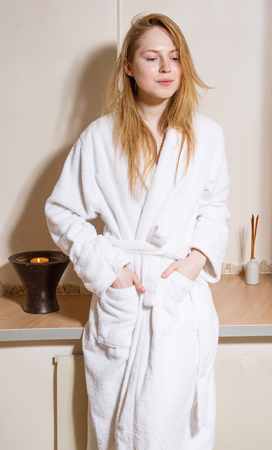 happy people faces: Spa Woman. Beautiful Girl After Bath  Perfect Skin. Skincare. Young Skin, blond hair , fresh look Stock Photo