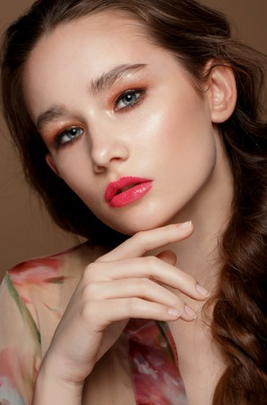 and magnificent: magnificent portrait of a beautiful young woman with perfect skin closeup, professional make up , hight retouch