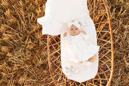 Portrait of lovely newborn baby girl in beautiful white dress, tiny cute child laying in the little bed at the field, happy family moments, childhood and parenthood concept. High quality photo