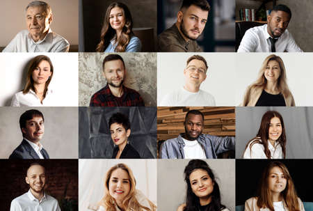 Collage or mosaic of diverse ethnicity young people group headshots, smiling multicultural people looking at camera, during video conference, meeting from home during quarantine. High quality photo Imagens