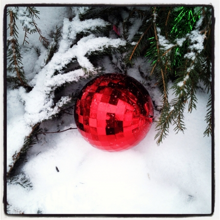 cele: Red christmas decoration and snow
