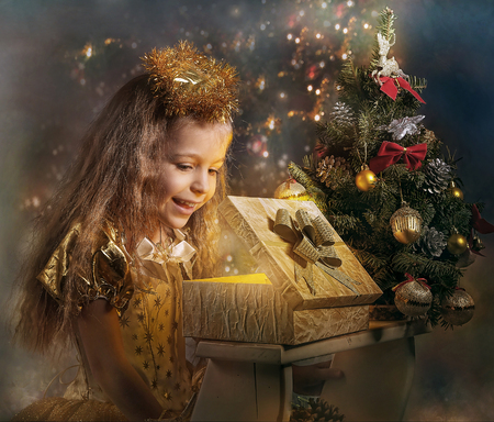 smile christmas decorations: girl received a Christmas present in a box