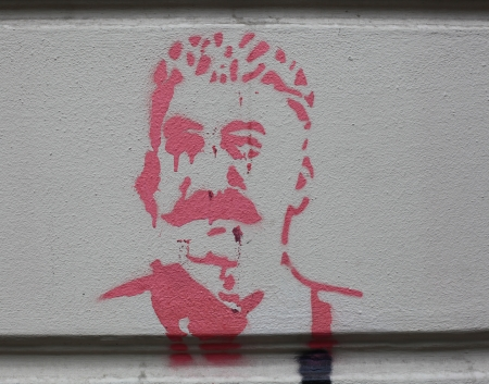 graffito: Graffiti image of Joseph Stalin painted on a wall in Tbilisi, Georgia, the country of Stalins origin