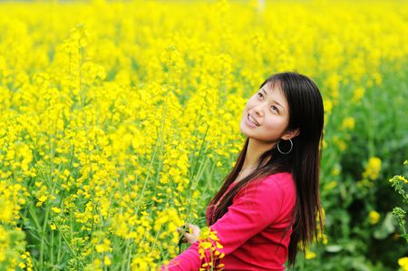 A pretty chinese women in rape flowers.