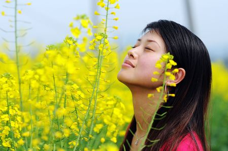 A pretty chinese women in rape flowers. photo