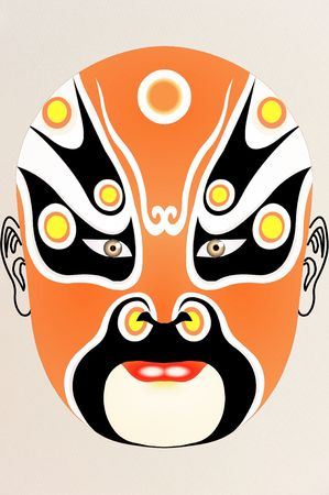 chinese opera face on Fabric with floral pattern Stock Photo