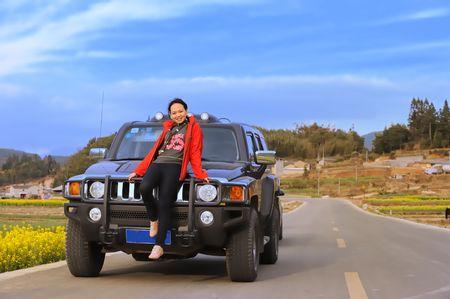 preety: preety girl sideby car