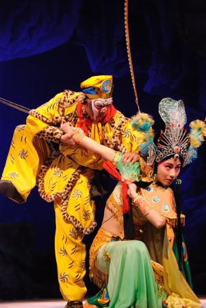 china opera Fight between The Monkey King and Iron Fan Princes Stock Photo - 6825891