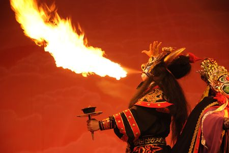 Sichuan opera is one of the Chinese oldest local operas.spit fire  is an important intangible cultural heritage in China.