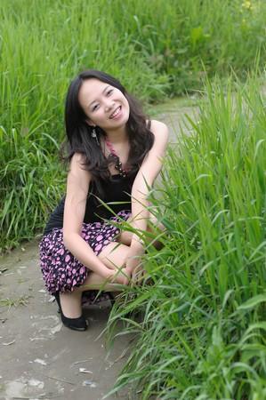 sexy asian girl with beautiful legs photo