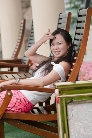 asian woman sit Stock Photo - 7346528