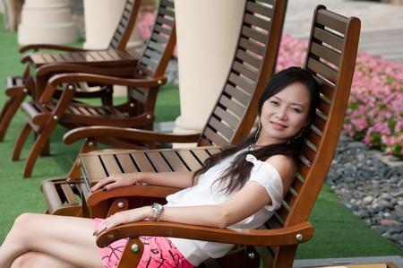 asian woman sit Stock Photo - 7346529