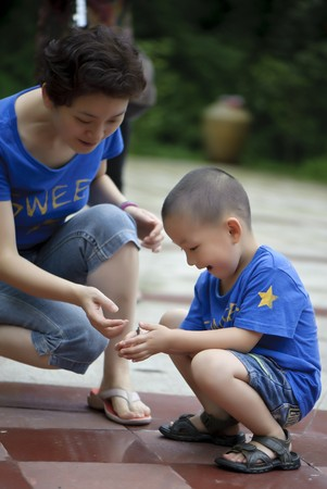 mother and son happy play photo